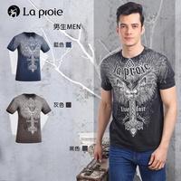【La proie 萊博瑞】男式時尚設計款棉質短袖T恤(三色-印花款T恤)