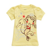 2015 New Little Maven Summer Baby Girl Child Sea Horse Yellow Cotton Short Sleeve T-shirt