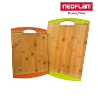 韓國NEOFLAM LUSSO系列抗菌竹砧板2件組-綠(大)+橘(中)