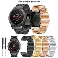 นาฬิกาข้อมือสายสแตนเลส Garmin Fenix 3 / Fenix 5X Watch Band Metal Replacement Strap Watch Bracelet A