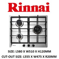 RINNAI RB-63SSV-DR 60CM 3 BURNER STAINLESS STEEL HOB WITH SAFETY DEVICE