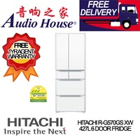HITACHI R-G570GS XW 427L 6 DOOR FRIDGE  *** 1 YEAR HITACHI WARRANTY *** FREE DELIVERY !!