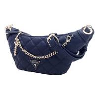 GUESS 菱格小香風皮革金鍊造型腰包/胸包-海軍藍