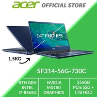 Acer Swift 3 SF314-56G-730C Thin and Light Laptop (Blue) - Intel i7-8565U Processor and Graphics