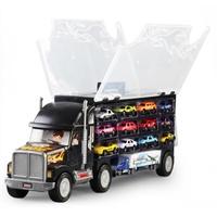 大貨車玩具貨櫃車兒童玩具小汽車合金模型套裝手提收納箱運輸卡車
