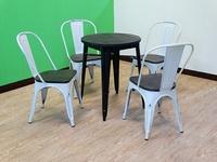 !新生活家具! 餐桌 DIY《奧莉薇》黑色 圓桌 餐桌 休閒 桌子 復古 工業風 loft 餐廳用 tolix