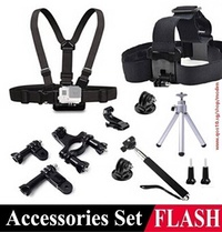 Gopro Accessories Set Hero 4 Sj4000 Kit Chest Belt+Head Band+Monopod +Mini Tripod +Adapter Go Pro He
