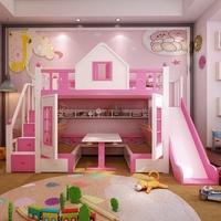 「免運送安裝」多功能置物城堡溜滑梯 粉紅 小木屋 雙人 兒童雙層床 上下床 子母床 (小蘋果家具)