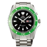 ORIENT 東方錶 WATER RESISTANT系列 200m潛水錶 綠水鬼 鋼帶款 綠圈 FEM75003B