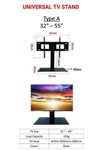 """Universal TV Stand Put on Table Top For 32"""" to 55"""""""