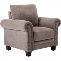 TREXM Fabric Living Room Sofa Set Collection Taupe with Curled Handrails and Nail Head Trim