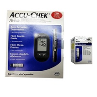 Accu-Chek Aviva Blood Glucometer with 10 test strips, 1 Softclix lancets device, lancets, carry c...