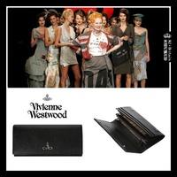 ♔MissyJ英國代購♥ Vivienne Westwood 英倫品牌墨黑色義大利防刮指紋牛皮革真皮掀蓋皮夾皮包女用長夾