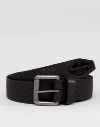 Superdry Master Perforated Leather Belt in Black