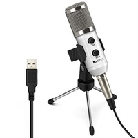 USB Condenser Mic Fifine Plug & Play Desktop Microphones For PC/Computer(Windows, Mac, Linux OX), Po