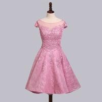 OFFICESTAR女士短款禮服宴會婚禮洋裝00013085粉色橘粉色米白色