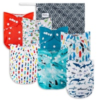 Surfs Up Cloth Pocket Diapers 7 Pack, 7 Bamboo Inserts, 1 Wet Bag by Nora's Nursery