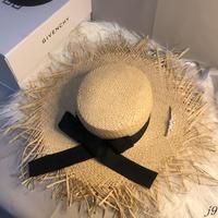 夏季毛邊超大帽檐拉菲草帽女百搭沙灘太陽帽海邊度假防曬遮陽帽潮