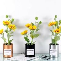 北歐擺件裝飾品原創仿真花小盆栽向日葵鐵皮花桶假綠植瓶  HM