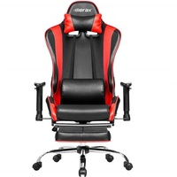 Merax Ergonomic Office Chair Racing Gaming Chair with Adjustable Armrests High-Back PU Leather Chair Folding Chair with Footrest for Home Office