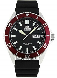 ▶$1 Shop Coupon◀  Orient RA-AA0011B Men s Kano Silicone Band Red Bezel Black Dial Automatic Dive Wat