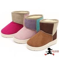 冬季兒童雪地靴拼色加厚保暖防滑雪靴/中童鞋/大童鞋