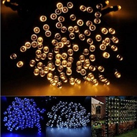 ALMM Outdoor Solar String Lights 55ft/17m 100 LED, Put under sunshine and store energy during the day, and it lights up Automatically at night, Perfect for Gardens, Patio, Lawn, Porch, Gate, Yard, Trees, Homes, Christmas Party, Warm White - intl