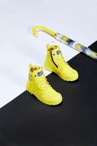 PALLADIUM 聯名SMILEY法國微笑防水靴 56630- 中童鞋 黑/黃 2色【iSport愛運動】