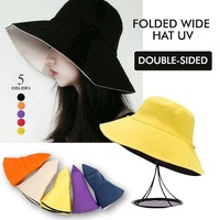 Fashion hat folding wide hat UV double-sided UV cut color is very cute
