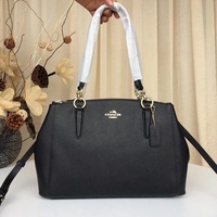 COACH F57520 SMALL CHRISTIE CARRYALL IN CROSSGRAIN LEATHER WOMEN HAND BAG BLACK