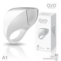 贈潤滑液~德國OVO A1 時尚男性 矽膠靜音時尚震動環 充電式 白色