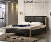 !新生活家具! 嵌入式 床架 皮革 床底 雙人床 標準床 5尺床架 床台 黑色皮革 實木床架 排骨架 《艾勒》 非 H&D ikea 宜家