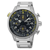 (Seiko) Seiko Solar Chronograph SS Black Dial Men s Watch SSC369 by Seiko Watches-