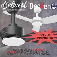 (SPECIAL PROMOTION! PRICE GUARANTEED!) DECKEN Ceiling Fan 3 Blades (FREE NTUC FAIRPRICE $5 VOUCHER)