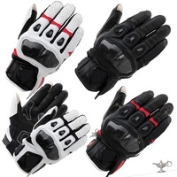 RS TAICHI RST410 Cow Skin Perforated Carbon Fiber Racing Touch Screen Gloves