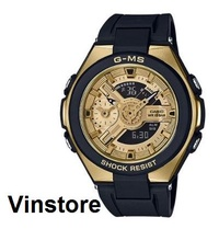 Casio Baby-G G-MS Gold Color Dual Dial World Time Women Sport Fashion Watch Black Resin Strap MSG-400G-1A2 MSG400G-1A2 MSG-400G-1A2DR