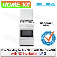 Elba Free Standing Cooker 50cm with Gas Oven 37L EGC 536WH - LPG