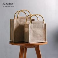 棉麻布復古文藝包包女手提袋子休閒手工小包草編包竹編藤編環保袋 享購