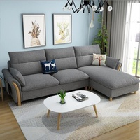 3 Seater L Shape Sofa with Fabric Cover, Sofa 005-grey