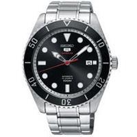 SEIKO 精工5號經典復刻機械錶/黑x銀/4R35-02D0D(SRPB91J1)
