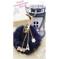 藍紫雪樣毛色法式風立體鐵塔水鑽蝴蝶結吊飾掛飾鑰匙圈