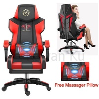 [Free Pillow Massager] Luxury Gaming Chair Office Chair Racing Style Adjustable Gaming Chair Home Gaming Chair Ergonomic Human Design Chair Design For Gamer Synthetic Leather Chair 360 Degree Swivel Chair