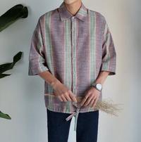 FINDSENSE MD 韓國 潮 男 時尚 休閒 翻領 寬鬆 鈕扣 棉麻 拼色格紋 短袖T恤 短袖襯衫