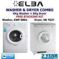 ELBA - 6KG WASHER + DRYER COMBO SET - MODEL: EWF 0861 6KG FRONT LOAD WASHER
