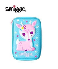 Smiggle Hardtop Pencil case Blue with Pink Deer / Single zip with free one pencil