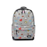 ▶$1 Shop Coupon◀  BT21 Official Merchandise by Line Friends - Jersey Pattern Backpack, Grey