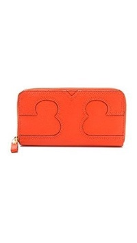 Tory Burch Amalie Zip Around Continental Leather Wallet in Fire Orange B00CLXK0VI