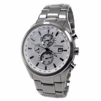 CITIZEN (Citizen) AT 8015 - 54 A EcoDrive / Eco Drive Solar Chronograph Radio Control Watch White Dial Metal Belt Mens Watch Watch - intl