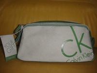㊣全新Calvin Klein綠配灰米色化妝包盥洗包整理分類包旅行袋行李箱中收納包容量大CK