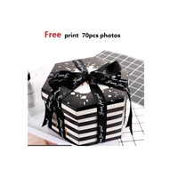 DIY Explosion Box Surprise Boxing Scrapbooking Photo Album with Kit for Valentine's Day Wedding Birthday New Year Gift Box (Free print 70PCS photos) - intl